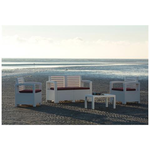 Salotto Giardino 4 Posti Nevada In Polipropilene Design Colore White