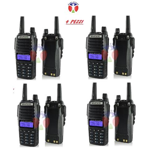 4 Baofeng Uv-82 Dual Band Ricetrasmittenti Walkie Talkie Cuffie Comunicazione