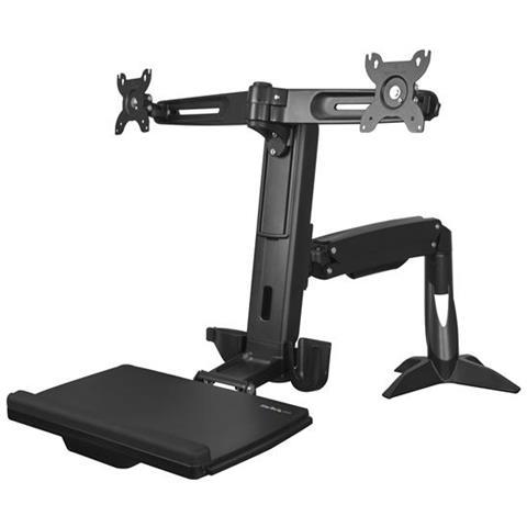 Image of Braccio supporto per doppio Monitor Sit-Stand - 2x Monitor fino a 24'''' - Altezza regolabile - Scrivania''