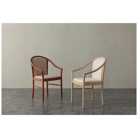 La Seggiola Poltroncina Manuela -microfibra Panna-legno-ciliegio Sedute Comode, Confortevoli Di Design