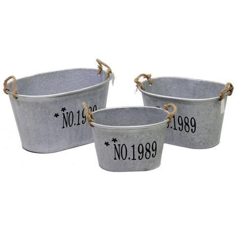 Portavaso in metallo ovale - set da 3
