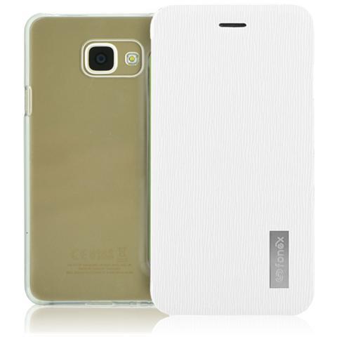 FONEX Crystal Slim Custodia a Libro con Back Trasparente per Galaxy A3 (6) Colore Bianco