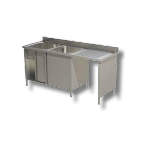 Lavello 200x60x85 Acciaio Inox 430 Armadiato Vano Pattumiera Cucina Rs5081