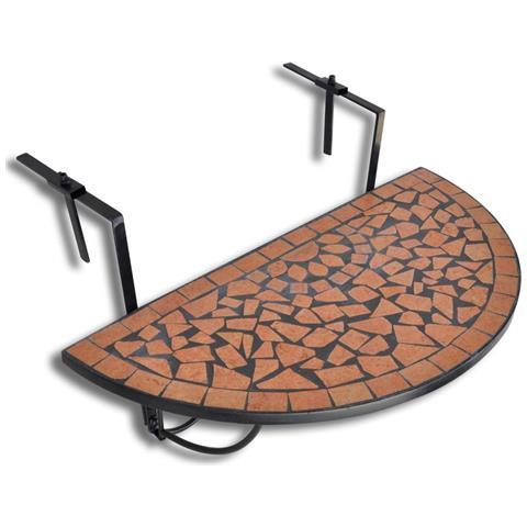 Mosaico Balcone Tabella D'attaccatura Semicircolare Terracotta