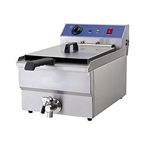 Friggitrice Elettrica Inox 16 Litri Con Rubinetto Di Scarico Monofase 5 Kw