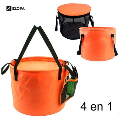 ? 4 In 1 30l Benna Pieghevole A Doppio Strato Per Il Campeggio Pesca All'aperto Arancione