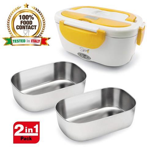 Amarillo Inox Scaldavivande Portatile Lunch Box Giallo 40 W 1,5 Litri + Set 2 Vaschette Acciaio Inox Estraibili