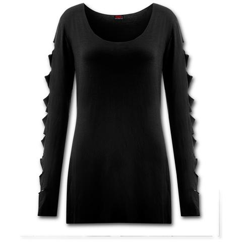 SPIRAL Metal Streetwear Slashed Sleeve Boatneck Top (Top Donna Tg. S)