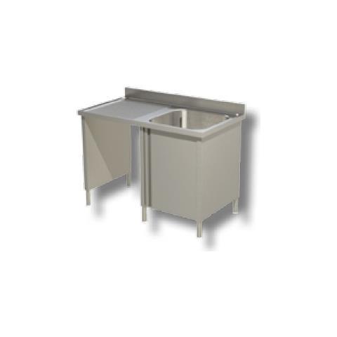 Lavello 140x60x85 Acciaio Inox 430 Armadiato Vano Pattumiera Cucina Rs5076