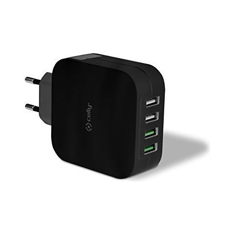 CELLY Caricabatterie da rete universale con 4 porte USB da 2.4A - Nero