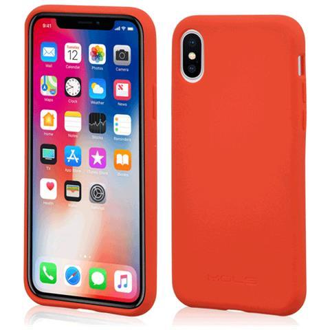 MOLS Custodia Antiurto per Apple iPhone X Sottile e Flessibile Italian Design Colore Rosso