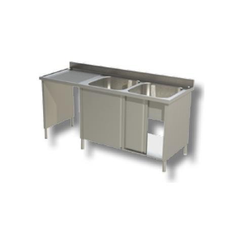 Lavello 200x60x85 Acciaio Inox 430 Armadiato Vano Pattumiera Cucina Rs5087