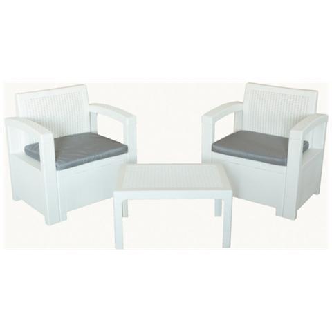 Set Terrazzo Texas In Polipropilene Design Colore White