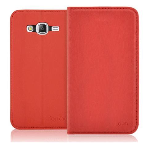 FONEX Classic Book Custodia a Libro In Ecopelle per Galaxy J5 Colore Rosso RICONDIZIONATO