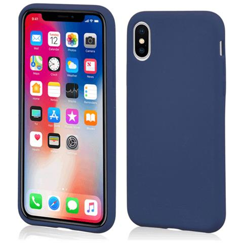 MOLS Custodia Antiurto per Apple iPhone X Sottile e Flessibile Italian Design Colore Blu Notte
