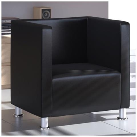 vidaXL Poltrona Design Moderno in Pelle Nera