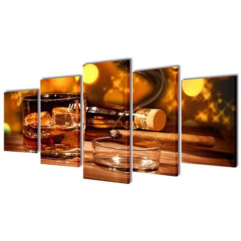 vidaXL 5 Pz Set Stampa Su Tela Da Muro Whiskey E Sigaro 100 X 50 Cm