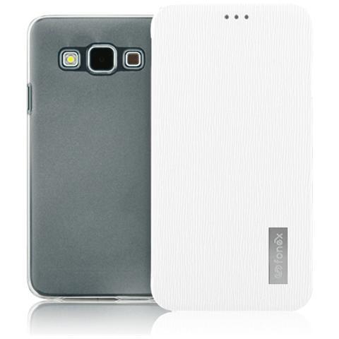 FONEX Crystal Slim Custodia a Libro con Back Trasparente per Galaxy A5 (6) Colore Bianco