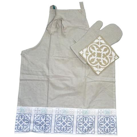 Ceramic Set Cucina Azzurro Grembiule Guanto Presina