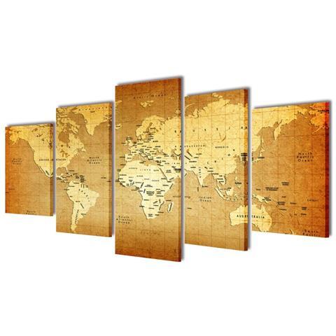 vidaXL 5 Pz Set Stampa Su Tela Da Muro Mappa Del Mondo 200 X 100 Cm