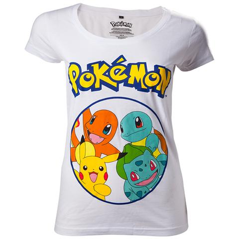 BIOWORLD Pokemon - Starting Characters Grey (T-Shirt Donna Tg. S)