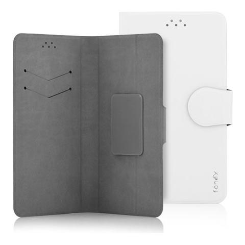 """FONEX Classic Detachable Custodia Universale a Libro per Dispositivi fino a 6"""" Colore Bianco"""