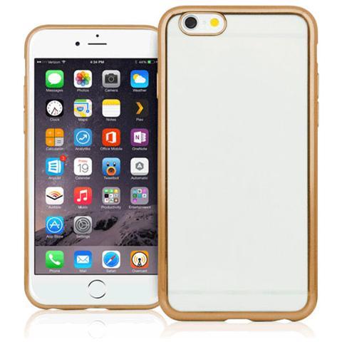 FONEX Sparkling Cover in Morbido TPU con Bordi ad Effetto Metalizzato per iPhone 6/6S Colore Trasparente / Oro