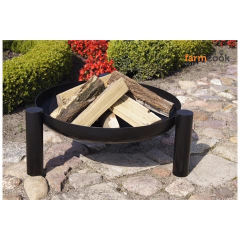 Braciere In Acciaio Barbecue Treppiedi Esterni Farmcook-60cm