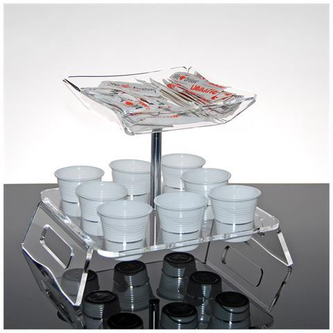 Vassoio Per Bicchieri Da Caffè E Bustine Di Zucchero Per Bar E Uffici In Plexiglass Trasparente Larix