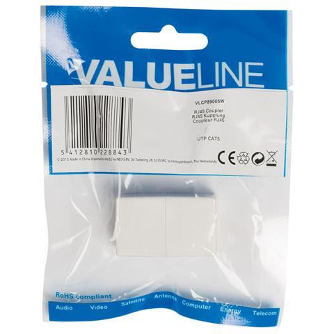 VALUELINE VLCP89005W, RJ45, RJ45, Femmina / femmina, Bianco, ABS sintetico, Sacchetto di politene