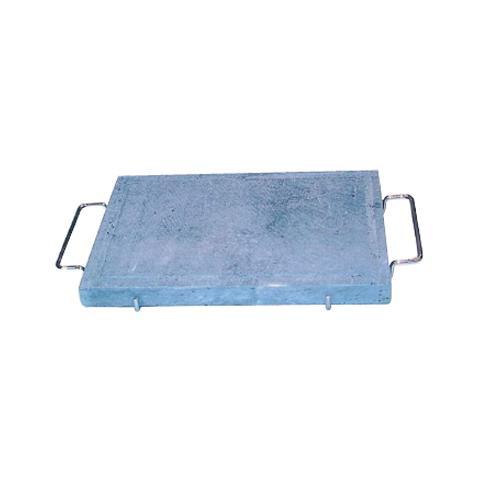 Pietra ollare con telaio e manici in acciaio cromato 25x35