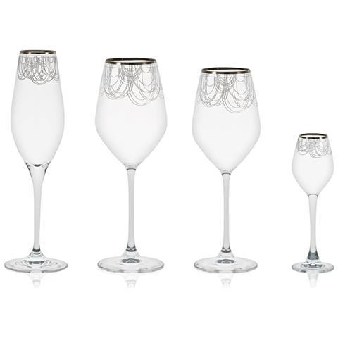 Boston Platino - Servizio Bicchieri 50 Pezzi