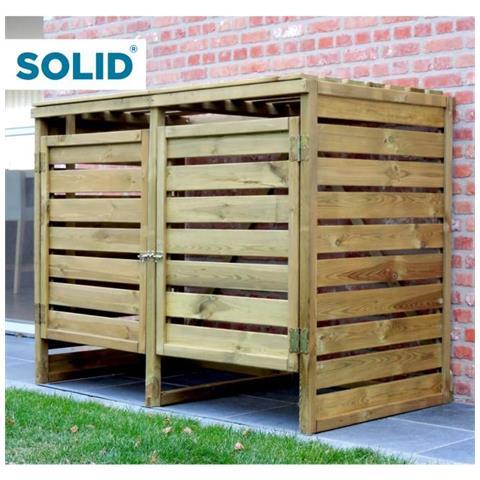 Porta Bidoni Doppio In Legno 150x82x120cm Solid