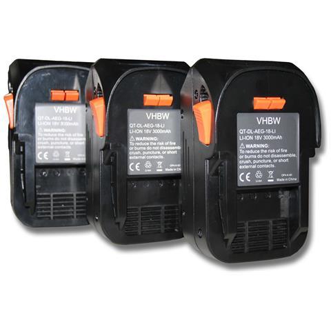 3x Batteria Sostituisce Aeg L1815r, L1830r Per Attrezzi Da Lavoro (3000mah Li-ion 18v)