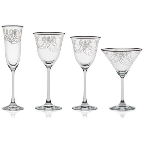 Dallas Platino - Servizio Bicchieri 50 Pezzi