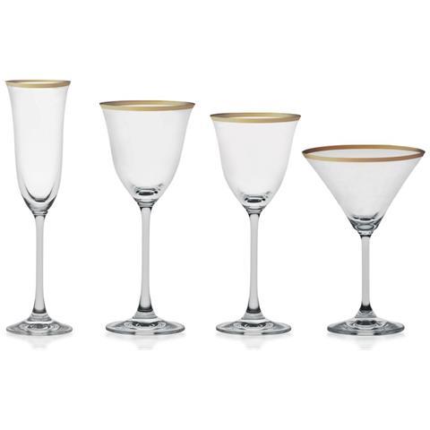 Servizio Bicchieri Filo Oro 50 Pezzi