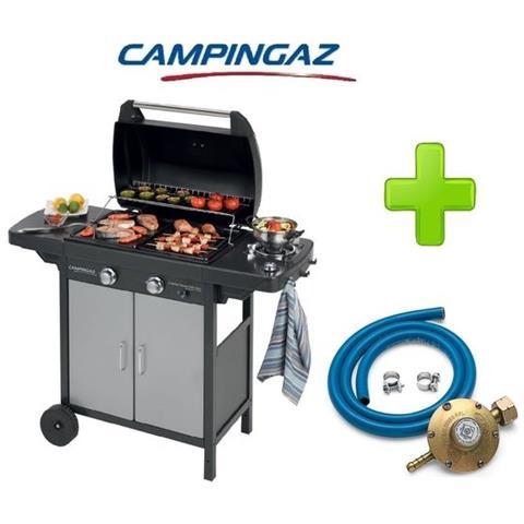 Barbecue A Gas Gpl (bombola) Campingaz 2 Series Vario Exs Con 2 Bruciatori + Fornello Laterale + Kit Regolatore Bombola Attacco Italia