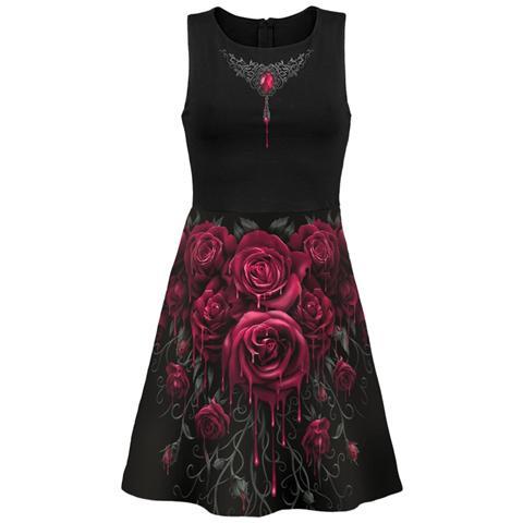 SPIRAL Blood Rose Ao Mesh Layered Midi Skater Dress (Abito Donna Tg. S)