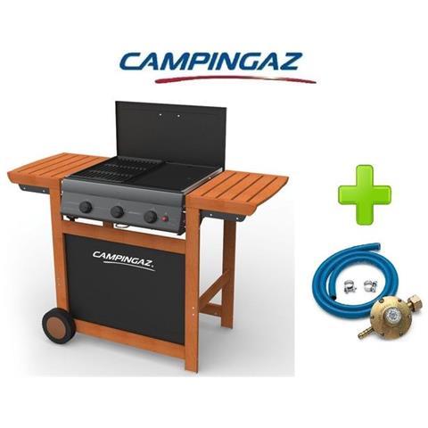 Barbecue A Gas Gpl (bombola) Campingaz Adelaide 3 Wody Con 3 Bruciatori In Ghisa + Kit Regolatore Bombola Attacco Italia