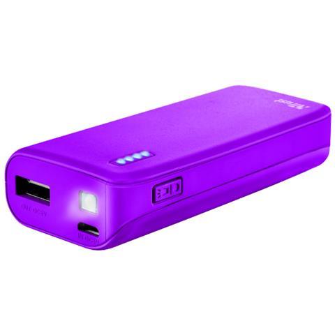 TRUST Primo Caricabatterie portatile con porta USB e batteria integrata da 4400 mAh - neon purple