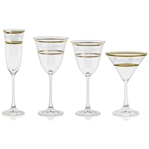 Servizio Di Bicchieri Con Decoro Filo Oro Ed Incisione - Angeli
