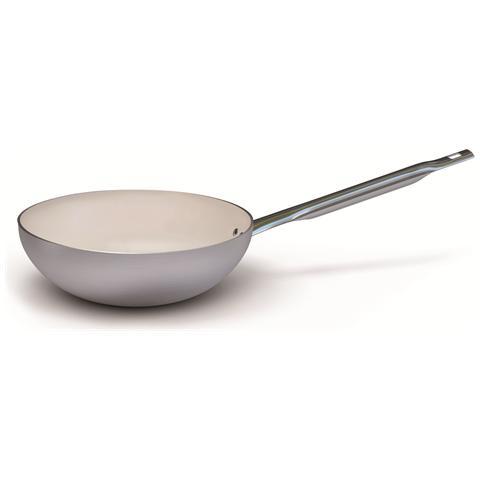 Padella Wok In Alluminio Antiaderente Bianco A Mantecare 1 Manico - Diametro Cm 24 - Altezza Cm 7,5