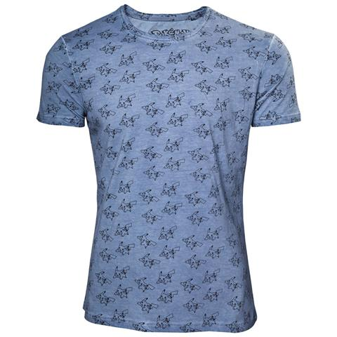 BIOWORLD Pokemon - All Over Pikachu On Cold Dyed Fabric (T-Shirt Unisex Tg. L)