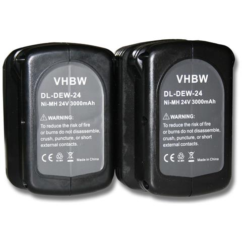 2x Ni-mh Batterie 3000mah (24 V) Per Dewalt Dc222ka, Dc222kb, Dc223ka, Dc223kb, Dc224ka Co...