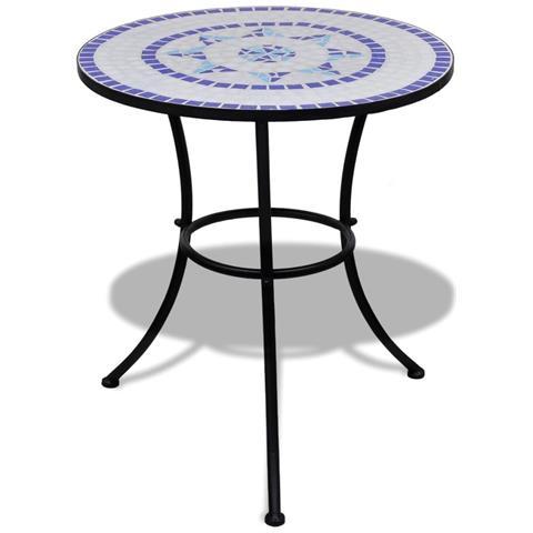 Tavolo In Ceramica Con Mosaico 60 Cm Blu / bianco