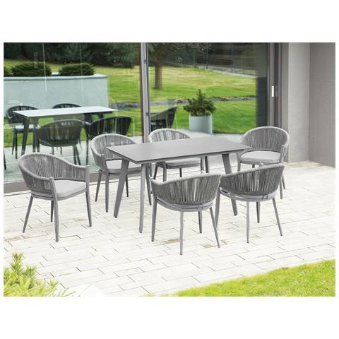 Set Di Un Tavolo E 4 Sedie Da Giardino Color Grigio Mileto