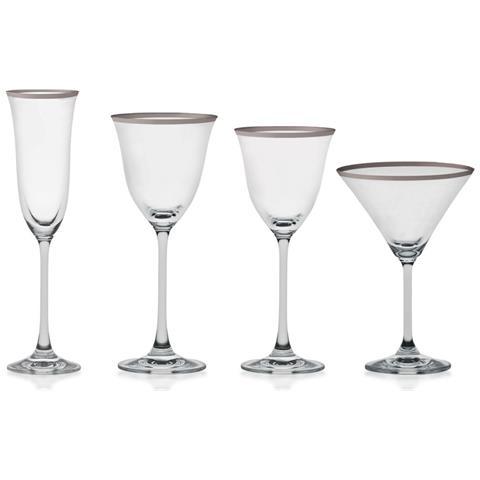 Servizio Bicchieri Filo Platino 50 Pezzi
