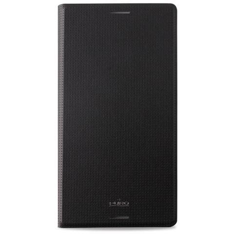 PURO Cust. Ecop Sony Xperia M4 Acqua Mfx Flip Oriz. + Vano Carta + Stand Up Nero