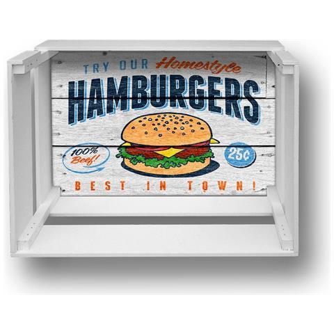 Lupia Mensola Decorativa Da Parete Design Moderno Shelf Box 30x40cm H. 20 Hamburgers