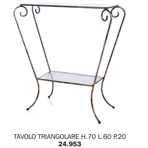 Tavolo Triangolare H. 70 L. 60 P. 20 Pianale Rete Metallica
